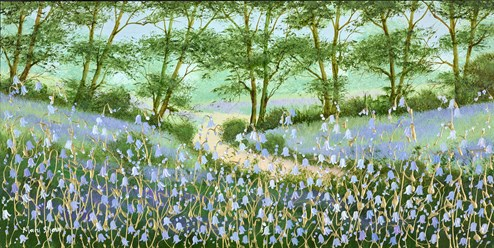 Bluebell Woodland Walk III by Mary Shaw - Original Painting on Board